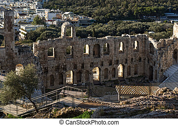 Ruins of Odeon of Herodes Atticus in the Acropolis of...