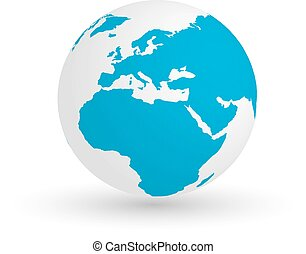3D Earth globe. Vector EPS10 illustration of planet with blue continents silhouette. Focused on Europe