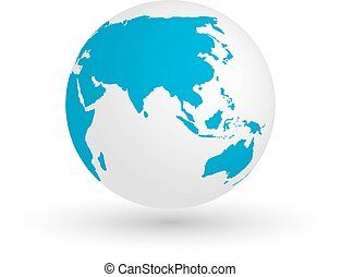 3D Earth globe. Vector EPS10 illustration of planet with blue continents silhouette. Focused on Asia