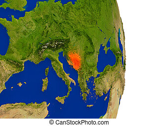 Bosnia on Earth - Map of Bosnia in red on planet Earth. 3D...