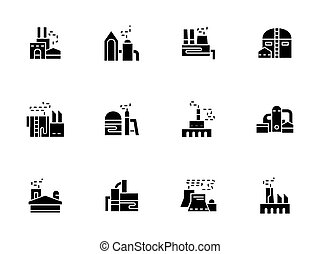 Factories and plants black glyph vector icons - Industrial...
