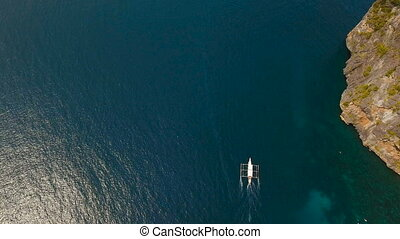 Motorboat on the sea, aerial view. - Aerial view of motor...