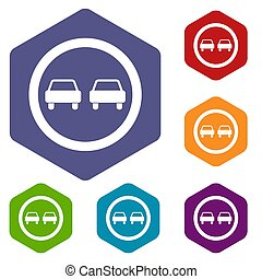 No overtaking road traffic sign icons set rhombus in...