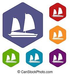 Vietnamese junk boat icons set