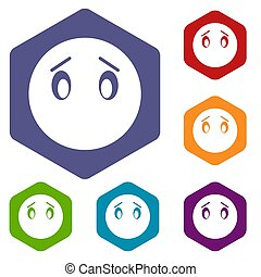 Emoticon icons set rhombus in different colors isolated on...