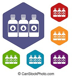 Printer ink bottles icons set rhombus in different colors...