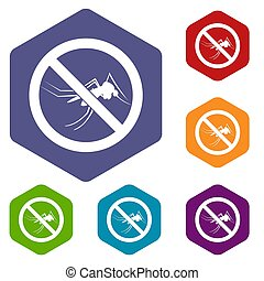 No mosquito sign icons set rhombus in different colors...