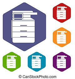 Multipurpose device icons set - Multipurpose device, fax,...