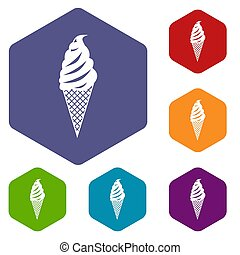 Ice Cream icons set rhombus in different colors isolated on...