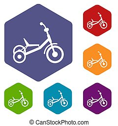 Tricycle icons set rhombus in different colors isolated on...
