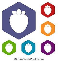 Ripe persimmon icons set rhombus in different colors...