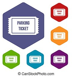 Parking ticket icons set rhombus in different colors...