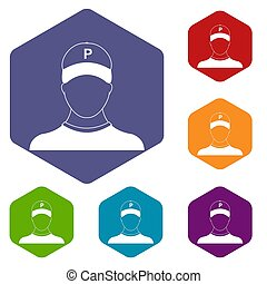 Parking attendant icons set rhombus in different colors...