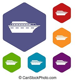 Powerboat icons set rhombus in different colors isolated on...