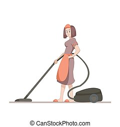Housekeeper or housewife makes home cleaning with a vacuum cleaner. Flat character isolated on white background. Vector, illustration EPS10.