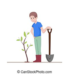 The guy with a shovel standing near the planted seedlings. Agricultural work. Flat character isolated on white background. Vector, illustration EPS10.