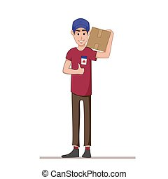 Courier with a box on his shoulders. Express delivery of parcels and goods. Postman. Flat character isolated on white background. Vector, illustration EPS10.