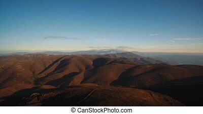 Aerial, Flight Over Beautiful Mountainous At Fujaco, Sunset,...