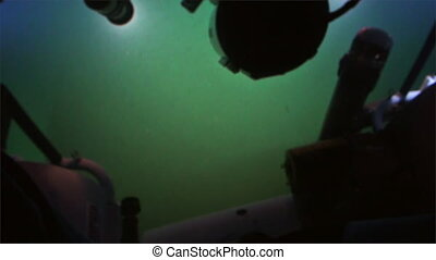 Seabed view of submarine in Pacific Ocean. Extreme diving....
