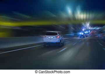 Night traffic in the city - Night traffic on the highway in...