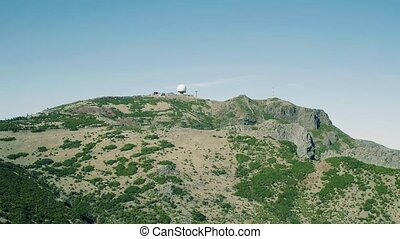 Aerial View Radar Located on the Top Mountain, Island...