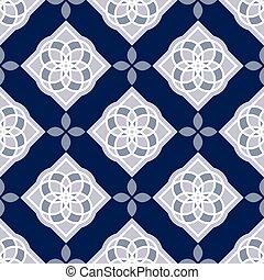 Portuguese azulejo tiles. Blue and white gorgeous seamless...