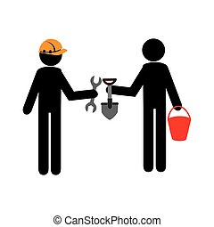 silhouette worker men with helmet and tools building