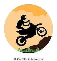 circular landscape with sports motorcyclist vector...