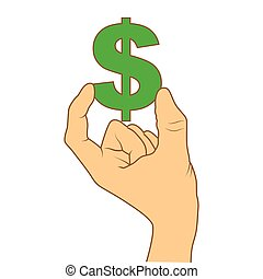 color silhouette with hand holding currency symbol of dollar