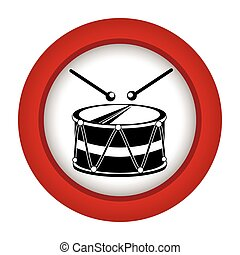 red circle with drum and drum stick