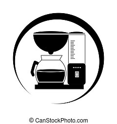 monochrome circular frame with coffee maker and glass jar...