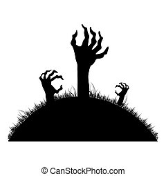 silhouette Zombie hands coming out of the ground vector...