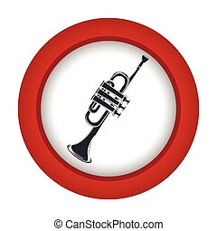 red circle with gray trumpet