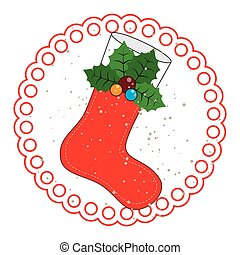 circular frame with ornament christmas boots with holly...