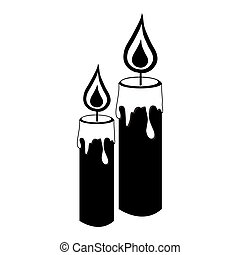 monochrome silhouette with pair of candles
