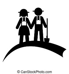 monochrome pictogram with couple of farmers