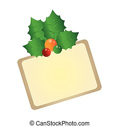 color christmas card with holly leaves vector illustration