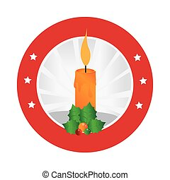 circular emblem with christmas candle and holly leaves...