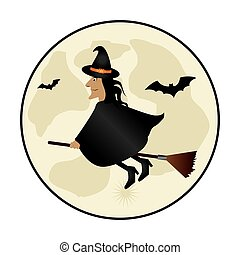 circular frame with halloween witch and bat