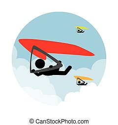 circular landscape with man in paragliding vector...