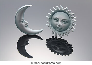 Sun and Moon Symbols with Reflection