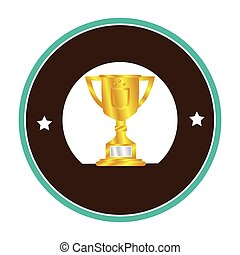 colorful circular border with golden Trophy Cup with plate