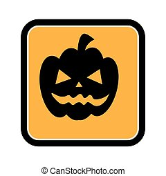square frame of halloween with pumpkin