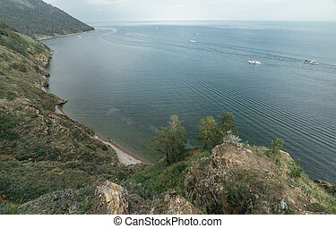 Mountain and sea. Nature composition. Wildlife Reserve...