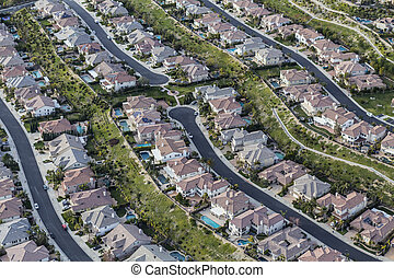 Southern California Clean Suburban Streets Aerial