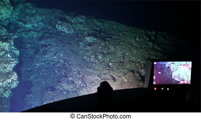 Landscape of canyon, cave view from submarine underwater in...