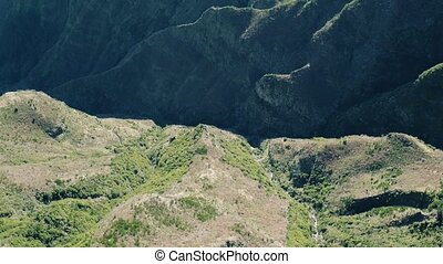 Aerial View of the Canyon and Mountains, Island Madeira...