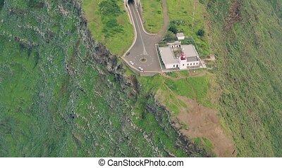 Aerial view of Ponta do Pargo Lighthouse, Island Madeira...