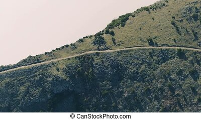 Aerial View of the Footpath on Mountain Ridge, Island...