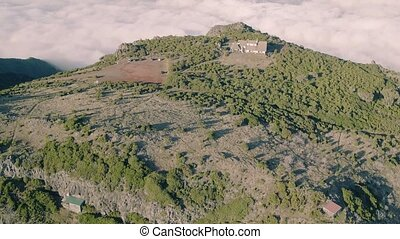 Aerial View of the Abandoned House on Top Mountain